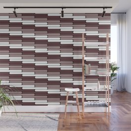 Staggered Oblong Rounded Lines Pattern Pantone Red Pear Wall Mural