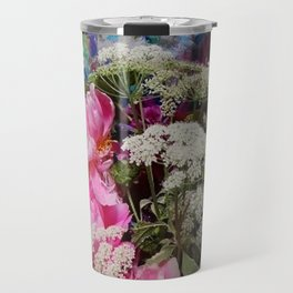 Pink Peonies & Queen Ann's Lace Bouquet Travel Mug