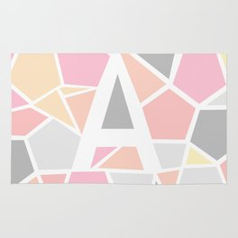 Letter A Geometric Shapes in Warm Colors Rug