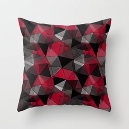 Abstract polygonal pattern.Red, black, grey triangles. Throw Pillow
