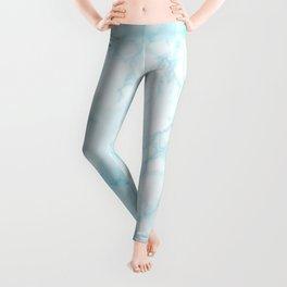Elegant pastel blue white modern marble Leggings