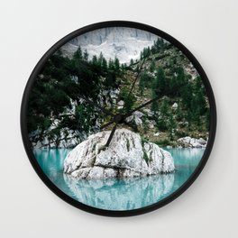 Mountain view with lake Sorapis in the Italian Dolomites Wall Clock