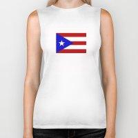 puerto rico Biker Tanks featuring puerto rico country flag star by tony tudor