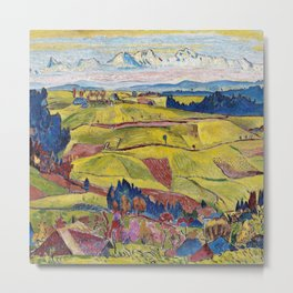 Chamonix Valley and Snow-capped French Alps landscape by Cuno Amiet Metal Print
