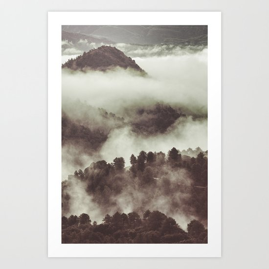 Foggy morning at the mountains. Retro forest Art Print