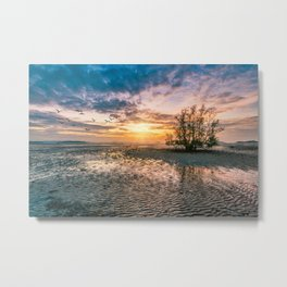 Sunrise with sunrays and flock of birds at sunrise, Phang Nga Bay, Thailand Metal Print