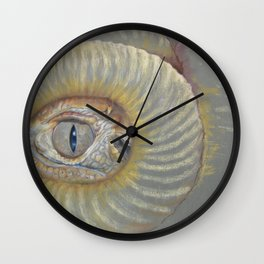 Scary Dragon Eye Weird Reptilian Monster Eye Surreal pastel drawing Fantasy Book illustration Wall Clock