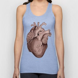 Anatomical Human Heart - Black and Old Rose Unisex Tank Top