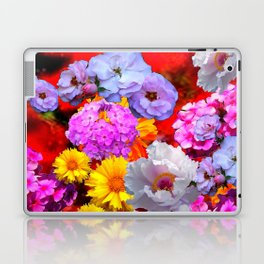 PINK-YELLOW-WHITE FLOWERS ON RED Laptop & iPad Skin