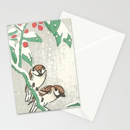 Sparrows in snow Stationery Cards