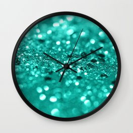Sparkling Turquoise Lady Glitter #2 #shiny #decor #art #society6 Wall Clock
