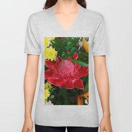 Red Torch Ginger Flower Unisex V-Neck