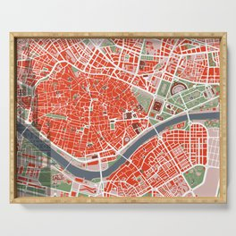 Seville city map classic Serving Tray