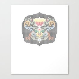 Real Cross Stitchable Pattern -- Renaissance Floral Color Coded Chart Canvas Print