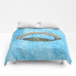 Narwhale Rainbow Blue Ocean Waves Comforters