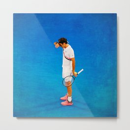 Roger Federer Thinking Tennis Metal Print