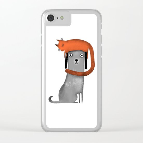 CAT LANDING Clear iPhone Case