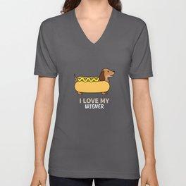 I Love My Weiner Dog - Dachshund Owner Gift Unisex V-Neck