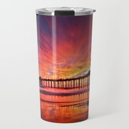 Sunset Huntington Beach Pier CA   Travel Mug