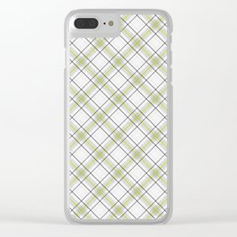 Diagonal tartan gray and yellow over white Clear iPhone Case