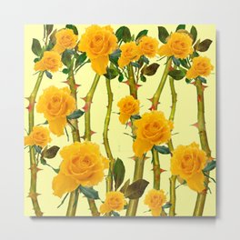 GOLDEN ROSES & THORNY CANES ON  YELLOW Metal Print