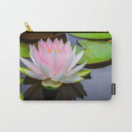 Pink Lotus & Green Lily Pads On A Jet Black Pond Carry-All Pouch