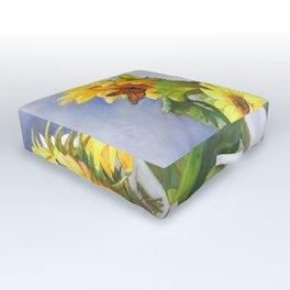 Sunflowers After The Rain Outdoor Floor Cushion