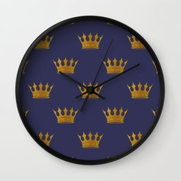 Royal Blue with Gold Crowns Wall Clock