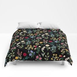 Spring Botanicals Black Comforters