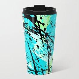Abstract teal lime green brushstrokes black paint splatters Travel Mug