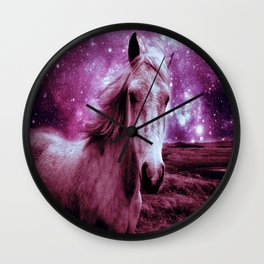 Mauve Horse Celestial Dreams Wall Clock