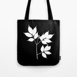 White leaves on black back Tote Bag