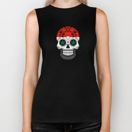 Sugar Skull with Roses and Flag of Syria Biker Tank