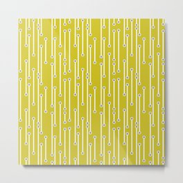Dotted Lines in white and gray on mustard yellow Metal Print