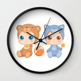 Babies in Cat and Bear Jumpsuits Wall Clock