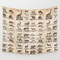 animals Wall Tapestries featuring Animals by Le petit Archiviste