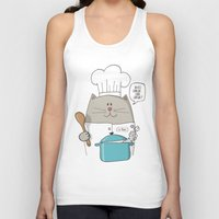 chef Tank Tops featuring Chef cat, chef hat, ZWD009S6 by ZeeWillDraw