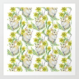 Spring yellow green watercolor daffodil rabbit pattern Art Print
