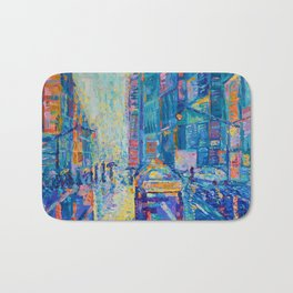 Streets of New York - palette knife urban city landscape by Adriana Dziuba Bath Mat