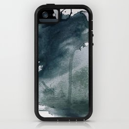 Lakeside: a minimal, abstract, watercolor and ink piece in shades of blue and green iPhone Case