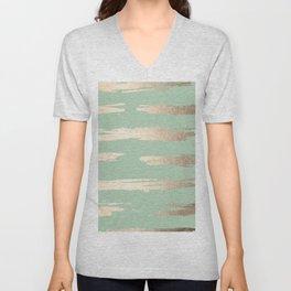 Simply Brushed Stripe White Gold Sands on Pastel Cactus Green Unisex V-Neck