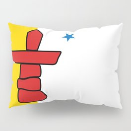 Nunavut territory flag- Authentic version with Inukshuk and blue star Pillow Sham