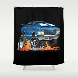 Classic Seventies American Muscle Car Hot Rod Cartoon Illustration Shower Curtain