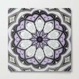 Ultra Violet Silver and Lilac Abstract Floral Pattern Metal Print