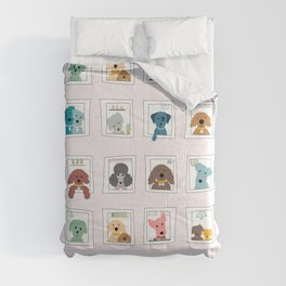 Dogs in the Window Comforters