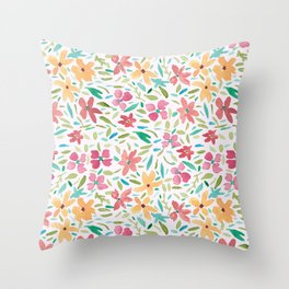 Clementine and Coral Watercolor Floral Light Throw Pillow