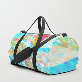 psychedelic geometric triangle polygon pattern abstract in blue pink yellow Duffle Bag
