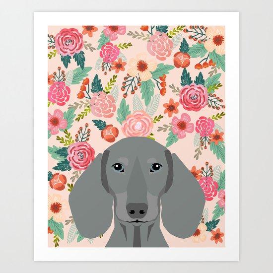 Dachshund pet portrait custom dog art by pet friendly grey dachsie doxie gifts Art Print