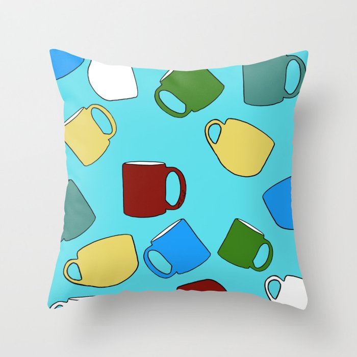 Coffee Mugs! Throw Pillow