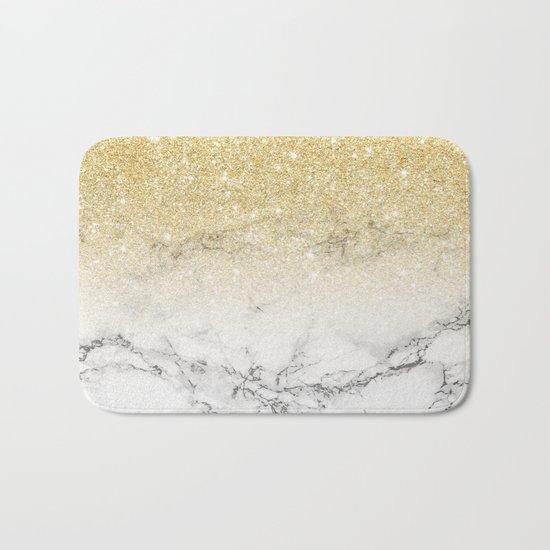 Modern faux gold glitter white marble color block Bath Mat
